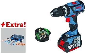 Bosch 0615990J66 Taladro y Set de 26 Herramientas, 18 V, Negro, Azul, Rojo