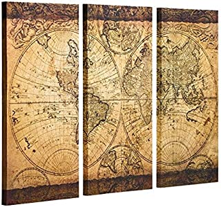 Decor MI Vintage World Map Canvas Wall Art Prints Stretched Framed Ready to Hang Artwork Wall Decor for Living Room Office Decoration 16''x32