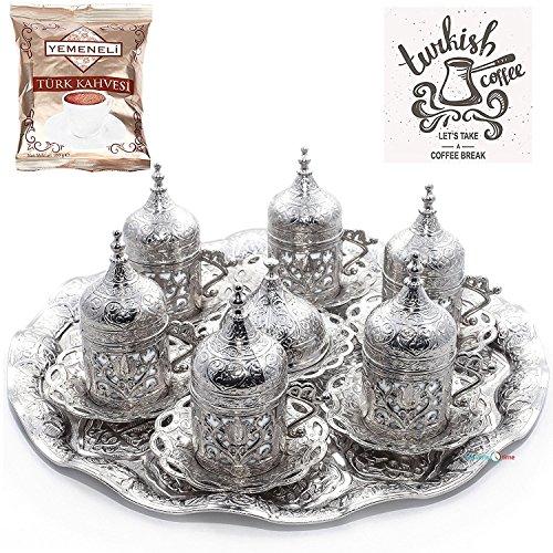 Ottomane Kaffeetasse mit Untertasse (Kubbeli), Türkisch, Griechisch, Arabisch, 6 Stück
