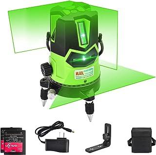 Nivel láser de haz verde 3D- nivel láser autonivelante Línea de cruce vertical horizontal con punto de plomada hacia abajo, base giratoria de 360 °