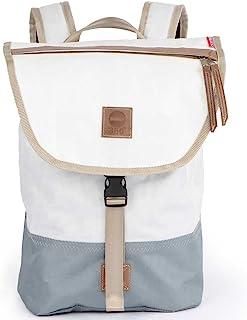 360° Landgang Mini Rucksack weiß, Balken grau, Gurt beige