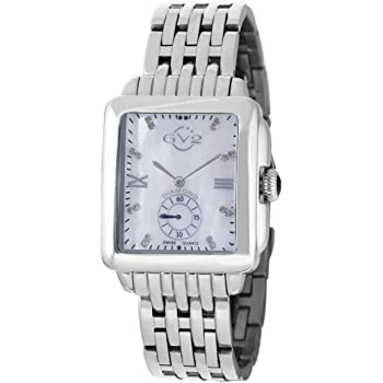 """GV2 by Gevril Women's 9200 """"Bari"""" Diamond-Accented Stainless Steel Bracelet Watch with Two Extra Leather Straps"""