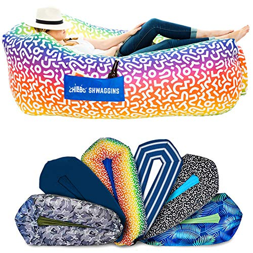 Chillbo Shwaggins Inflatable Couch – Cool Inflatable Chair. Upgrade Your Camping Accessories. Easy Setup is Perfect for Hiking Gear, Beach Chair and Music Festivals. (A Rainbow Swizzle)