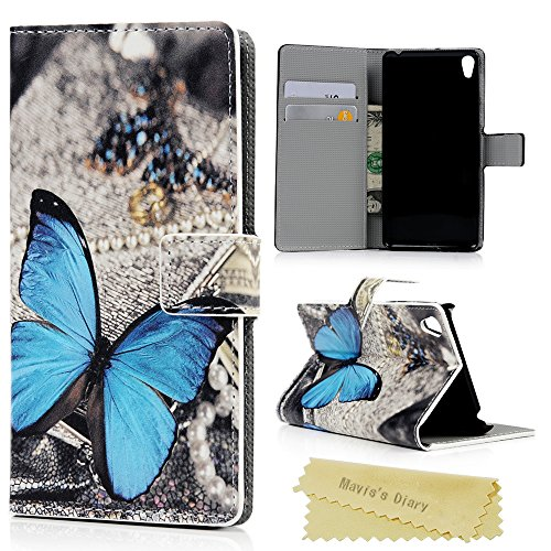 Funda Sony Xperia E5 Carcasa Flip Case con Tapa Atril Billetera Modelo PU Cuero Dibujo Mariposa
