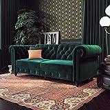 DHP Felix Chesterfield Sofa Futon, Green Velvet