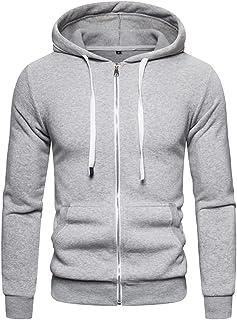 WZHZJ Cotton Hoodie Men Solid Casual Thick Fleece Spring Men's Sweatshirts Fashion Slim Fit Hooded Men Hoodies (Color : Gr...