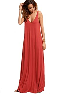 90a67e845dd Verdusa Women s Casual Sleeveless Deep V Neck Summer Beach Maxi Long Dress