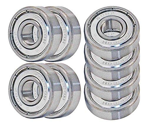 Leyal VXB 608 ZZ Skateboard Bearings, Double Shielded, Silver (Pack of 8)