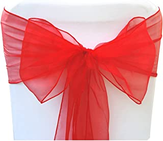 SARVAM FASHION SF New Pack of 10 Chair Decorative Organza Sashes Bow Designed for Wedding Events Banquet Home Kitchen Decoration - (10, Red)