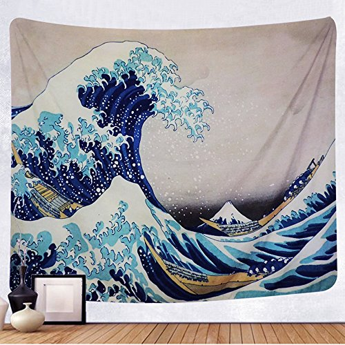 TENALY Tapestry Wall Hanging, Great Wave Kanagawa Wall Tapestry with Art Nature Home Decorations for Living Room Bedroom Dorm Decor in 51x60 Inches…