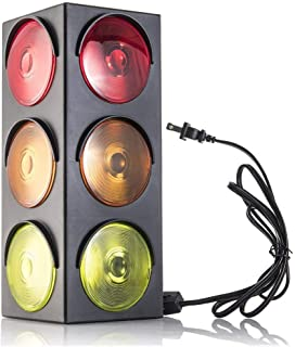 Kicko Traffic Light Lamp - Plug-in, Blinking Triple Sided, 12.25 Inch - for Kids Bedrooms, Decorations, Parties, Celebrati...