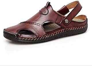 AiHua Huang Slide Sandals for Men Outdoor Water Shoes Buckle Synthetic Leather Waterproof Lightweight Breathable Summer Beach The Closed Toe (Color : Darkbrown, Size : 9.5 UK)