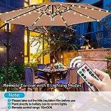 Luce per Ombrellone da Giardino con Telecomando e Timer, Luce Calda 3000K, Dimmerabile, 4 Modalità, Catena Luminosa LED IP65 per Ombrellone a Braccio, Luci Esterno Calda per Tenda Campeggio/Gazebo