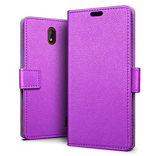 SLEO Custodia Nokia 1 Plus, [Premium Portafoglio Protettiva] Wallet Cover Nokia 1 Plus, 2-Scheda Slot, [PU Pelle] Morbido Impermeabile Antipolvere Protezione - Viola