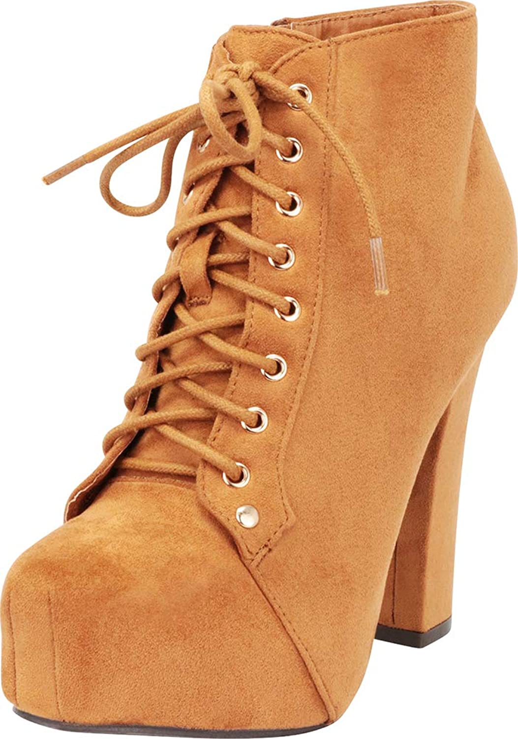 Cambridge Select Women's Lace-up Platform Chunky High Heel Ankle Bootie