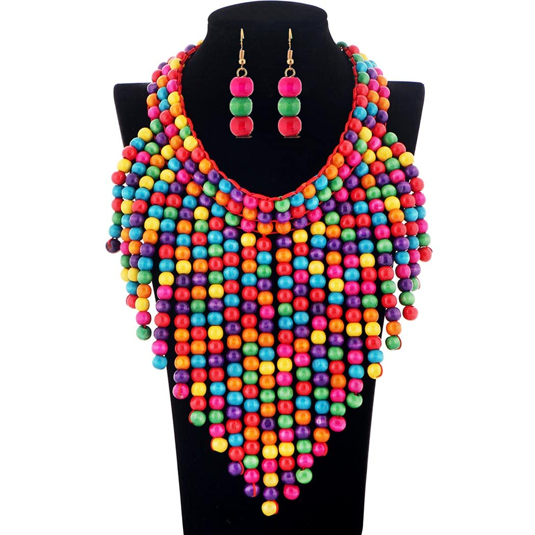 Barode Max 56% OFF Layered Statement Necklace Bargain sale Chunky Multicolor Tassel Bead
