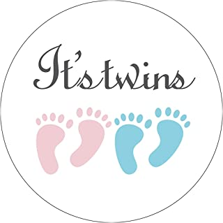 MAGJUCHE Pink and Blue It's Twins Baby Shower Stickers, Girl and Boy Little Feet Baby Shower Favor Stickers, 2 Inch, 40-Pack