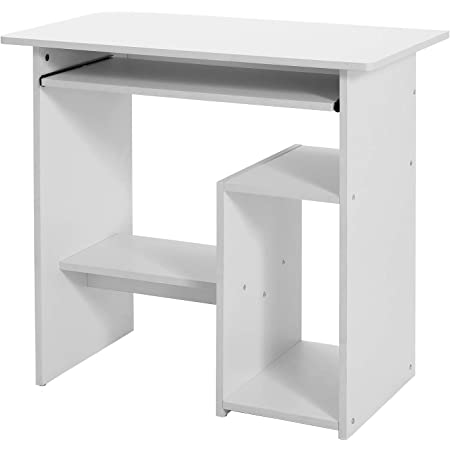 VASAGLE Bureau, Table Informatique, Poste de Travail, avec Support et étagère, Compartiment pour unité Centrale, pour Petit Espace, Montage Facile, 80 x 45 x 74 cm, Blanc LCD852W