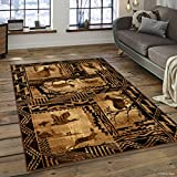 Allstar 4x5 Ivory and Mocha Cabin Rectangular Accent Rug with Espresso Wildlife Framed Forest Animal Collage Design (3' 9' x 5' 1')