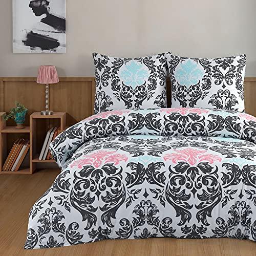 Ropa de cama 135 x 200 cm Deluxe 4 piezas 100% algodón Renforce cremallera juego de ropa de cama fundas y fundas de almohada tamaño estándar, diseño barroco de zarcillos marrón turquesa