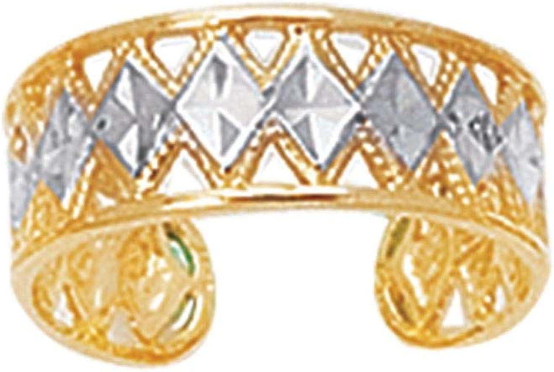 14K Yellow and White Gold Shiny Diamond Cut Two Tone Cuff Toe Ring