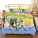 Aatensou Rick and Morty - Juego de ropa de cama con diseño de anime en 3D, 1 funda nórdica y 2 fundas de almohada de microfibra (4,135 x 200 cm + 80 x 80 cm)
