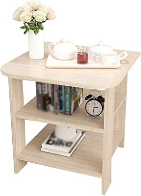 LF- Sofa Side Table Small Coffee Table Bedroom Bedside Small Coffee Table Made of Wood 3-Layer Storage Rack Chic (Color : B, Size : 40 * 50cm)