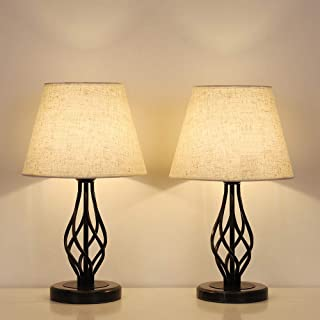 HAITRAL Bedside Table Lamps Set of 2 - Vintage Nightstand Lamps with Marble Base & Linen Fabric Shade, Small Desk Lamps for Bedroom, Office, College Dorm, Ideal Gifts, Decor