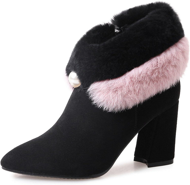 Nine Seven mocka läder Woherrar Pointy Toe Chunky Heel Söta Fur Handgjorda Dresty Trendy Ankle Booslipss