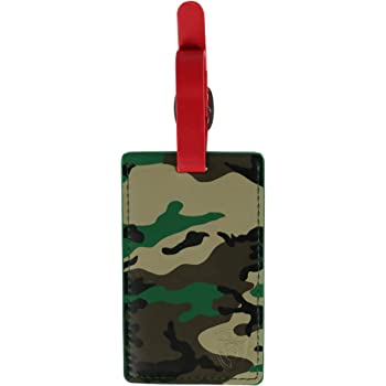 Saobao Travel Luggage Tag Brown Army Camouflage PU Leather Baggage Travel ID