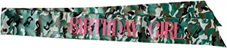 MIG Party Solutions Camouflage Satin Birthday Girl Sash with Sparkling Metallic Pink Glitter Lettering   Great for Photo Booth Props
