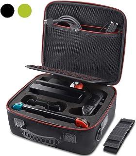 VORI Nintendo Switch専用の保護ケース 収納ケース 任天堂スイッチ用のキャリングケース,外出や旅行用収納バッグ, 防塵、防汚、耐衝撃,21個カート/ケーブル/イヤホンなど小物収納可広い空間 紛失防止 収納バッグブラック
