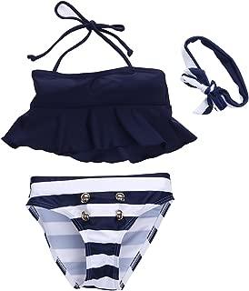 3Pcs Toddler Baby Girl Striped Bikini Set Black Halter Tube Top Dress+Short Bottom+Headband Bathing Suit Swimwear