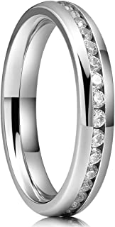 4mm Womens Eternity Titanium CZ Wedding Engagement Ring Cubic Zirconia Inlay Band