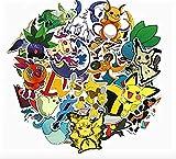 Paquete de 45 pegatinas impermeables con dibujos animados alrededor de Pokemon para monopatín, maleta, guitarra,...