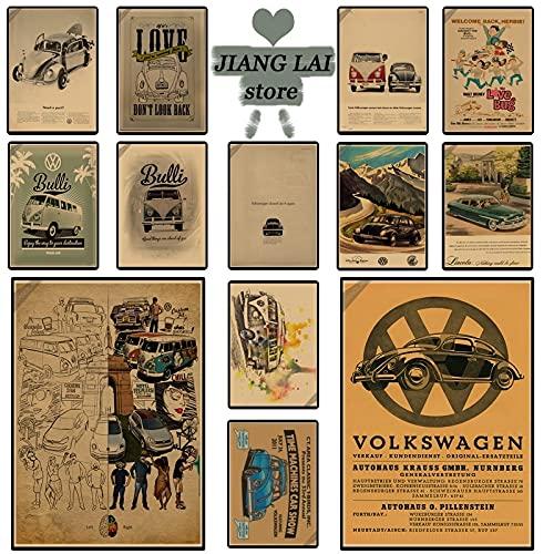 PMSMT Cartel Vintage en la Carretera Volkswagen/nostálgico/Cartel de Papel Kraft/Bar Cafe Bar Decorado p003