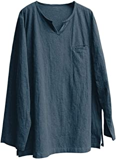 DADKA Mens T shirt Brief Breathable Comfy Solid Linen 3/4 Sleeve Loose Casual T shirt Blouse