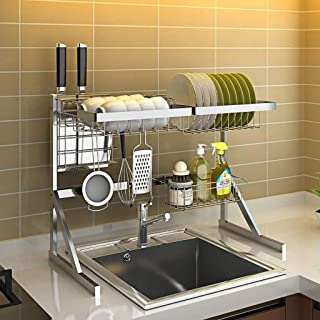 DJSMsnj Rangement de cuisine, égouttoir à vaisselle, étagère en acier inoxydable, support de comptoir, organisateur de vai...