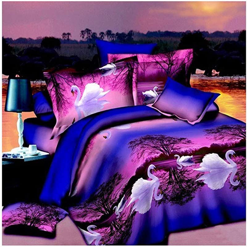 RollingBronze 3D Swan Printing Bedding Set Bed Sheet Pillowcase Comforters Quilt Bed Sheet Bedspread
