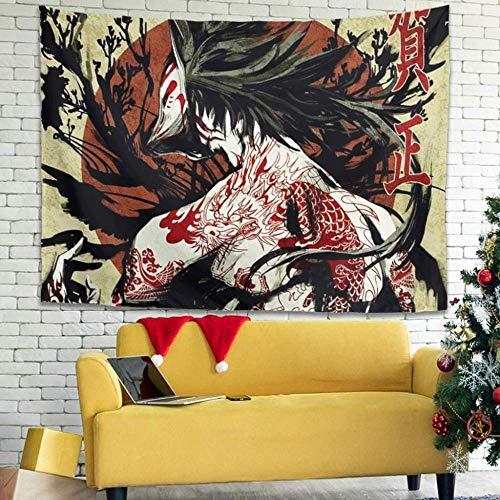 BOIPEEI Tapiz para Colgar en la Pared con Estampado de Ukiyoe de Sol Rojo japonés Vintage, Tapiz de Tela para decoración, Tapiz Vintage para Porche, Blanco,100Cmx70Cm