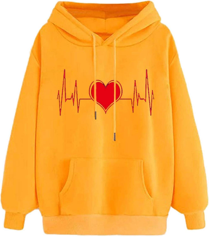 FABIURT Womens Hoodies, Women Girls Cute Heart Printed Long Sleeve Hooded Sweatshirts Casual Loose Pullover Hoodie Tops