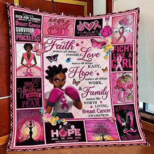 Breast Cancer Awareness Black Woman Gift 与え Blanket ラッピング無料 Awarenes Fleece