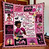 Breast Cancer Awareness Black Woman Gift Fleece Blanket Awareness Believe Strong Faith Love Hope Home Decor Bedding Couch Sofa Soft and Comfy Cozy (Small (30x40in))