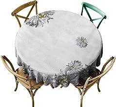 StarsART Custom tablecloths Dahlia Flower,Flourishing Summertime Fusion Poppy Chamomile Purity Icons of Habitat Art,Grey Mustard D54,Round Tablecloth