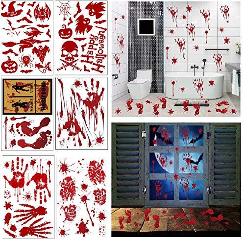 COOLON 6 Blätter Halloween Sticker Aufkleber -Halloween Schaurig Blutige Sticker Handabdrücken Realistischer Blut Fingerabdrücke Blutflecken Fenster Sticker für Halloween Party Dekorationen