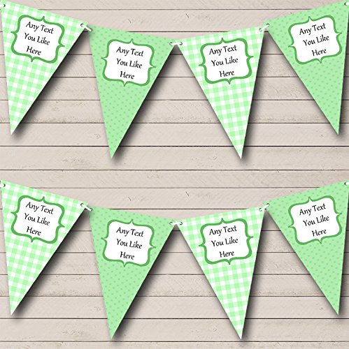 Green Gingham and Polka Dot Welcome Home New Baby Bunting Banner Garland