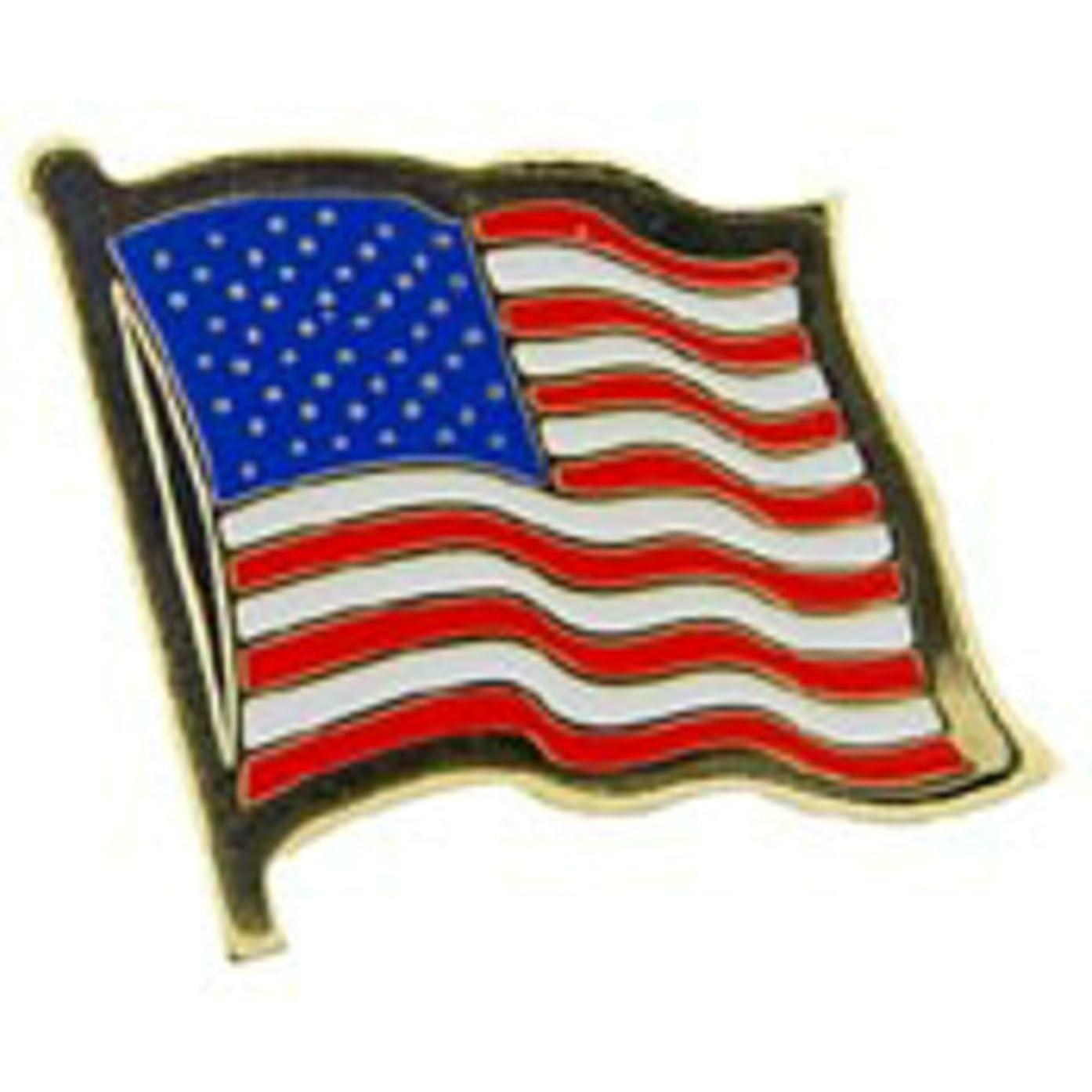 EagleEmblems P09615 PIN-USA Flag,Wavy,I (1'')