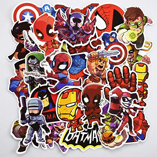 Superhero Kids Anime Cartoon Stickers voor Mobiele Telefoon Auto Motorfiets Laptop Bagage Fiets Skateboard Koelkast [Set van 100 Stickers]