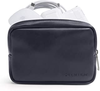 LENTION Split Leather Carrying Storage Pouch, Universal Electronic Accessories Sleeve Case for Laptop/Tablet Power Adapter, MacBook Air/Pro Charger, Wireless Mouse, Mac Gadget and More (Black)