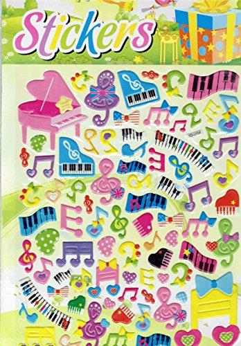 Charo 3D Musik Noten Piano Klavier Notenschlüssel bunt Aufkleber 1 Blatt 250 mm x 200 mm Sticker Basteln Kinder Party